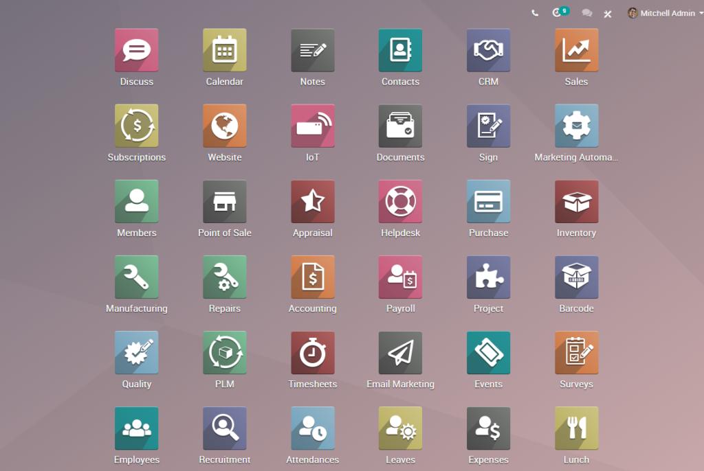 Odoo 12e Homepage